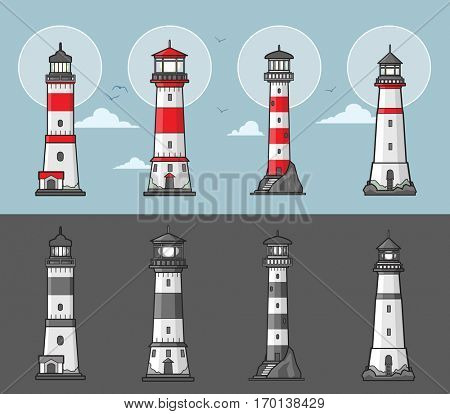 Set of lighthouses illustration in color and monochrome style