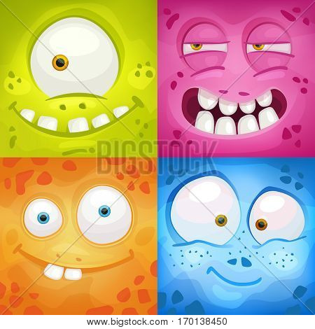 Set of cartoon monster faces with different emotions