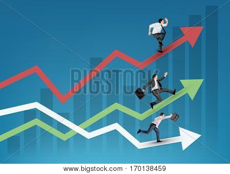 Business people running on diagrams symbol of teamwork and competition