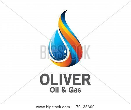 Oil and gas logo design. Colorful oil and gas logo vector template. oil and gas concept with 3D style design vector.