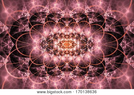 Abstract Intricate Lacy Ornament In Pink And Orange Colors. Fantasy Fractal Background. Digital Art.