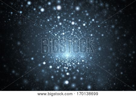 Supernova Explosion. Abstract Faded Blue Sparks On Dark Background. Fantasy Fractal Texture For Post
