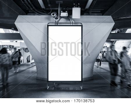 Blank Billboard Banner mock up Light Box Vertical sign stand display Public space