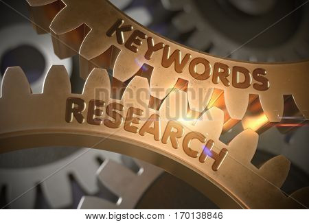 Golden Gears with Keywords Research Concept. Keywords Research - Industrial Illustration with Glow Effect and Lens Flare. 3D Rendering.