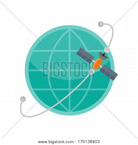 Globe with satellite icon. Global communication concept. Satellite connection. Blue symbols of the planet. Abstract globe symbol. Earth icon. White and blue icon in line design. Vector illustration