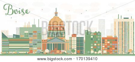 Abstract Boise Skyline with Color Buildings. Vector Illustration. Business Travel and Tourism Concept with Modern Architecture. Image for Presentation Banner Placard and Web Site