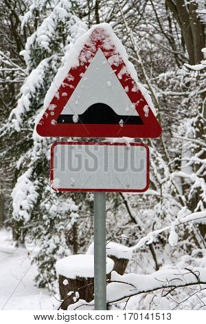 Road sign in a forest on a snowy day