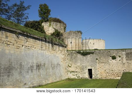 defensive boundary wall with tower of the Blaye Citadel Gironde France