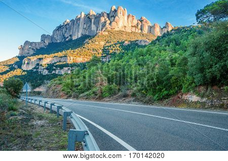 Spain. Catalonia. Road in Santa Maria de Montserrat Abbey. Mountain of Montserrat