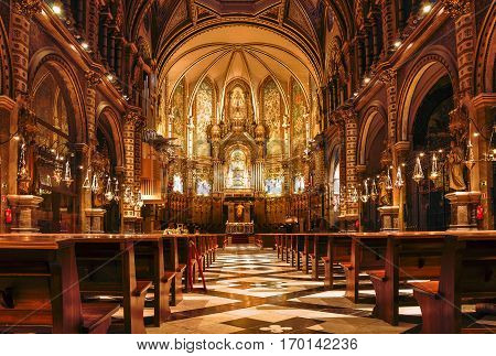 Spain. Catalonia. Interior of the Church of Montserrat. Abbey is located on the mountain of Montserrat. Image made on 5/1/2017