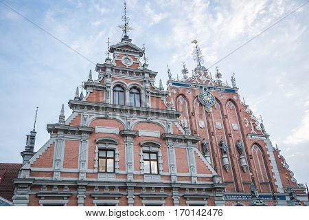 Latvian attraction - house of the Blackheads in old city center of Riga, Latvia