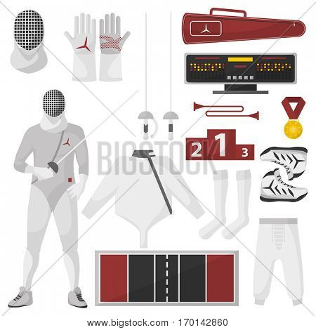 Fencing sport equipment vector set. Isolated on white.