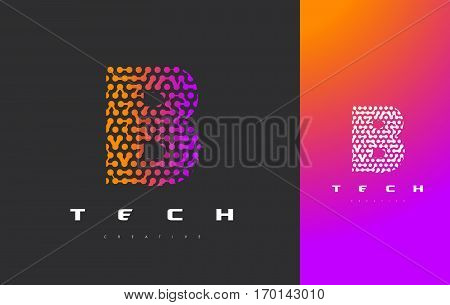 B Letter Logo Science Technology. Connected Dots Letter Design Vector with Points.