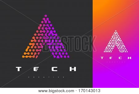 A Letter Logo Science Technology. Connected Dots Letter Design Vector with Points.