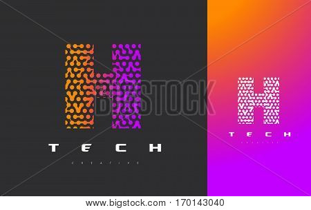 H Letter Logo Science Technology. Connected Dots Letter Design Vector with Points.