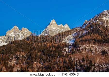 views of beautiful Alps mountains in Chamonix Mont Blanc France