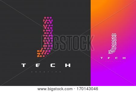 J Letter Logo Science Technology. Connected Dots Letter Design Vector with Points.