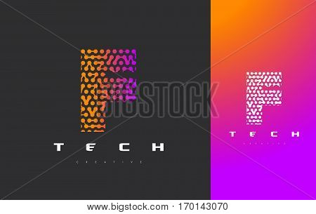 F Letter Logo Science Technology. Connected Dots Letter Design Vector with Points.
