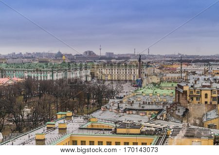 december,26,2016,Saint-Petersburg, Russia: view of the city from the colonnade of St. Isaac's Cathedral to Dvortsovaya square Hermitage.