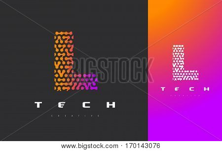 L Letter Logo Science Technology. Connected Dots Letter Design Vector with Points.