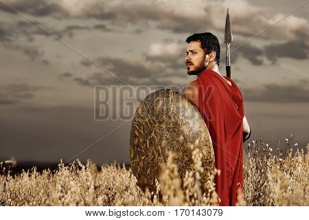 Back view of one warrior wearing like spartan confidently turned and looking away over shoulder, going in attack. Brunet with beard holding iron sword and shield. Bad weather with dark sky at field.