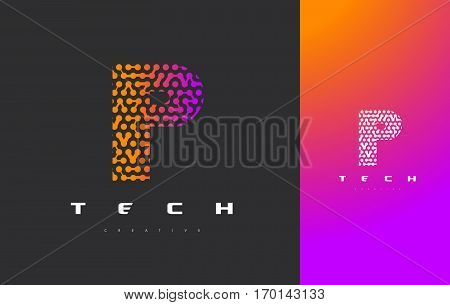 P Letter Logo Science Technology. Connected Dots Letter Design Vector with Points.