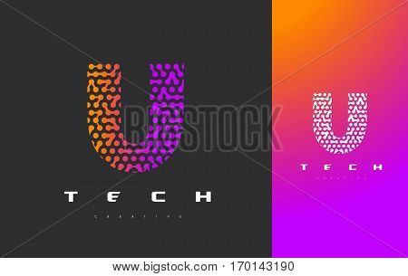 U Letter Logo Science Technology. Connected Dots Letter Design Vector with Points.