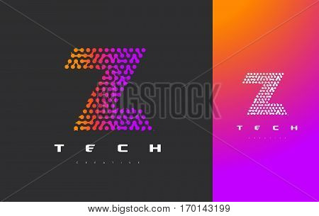 Z Letter Logo Science Technology. Connected Dots Letter Design Vector with Points.