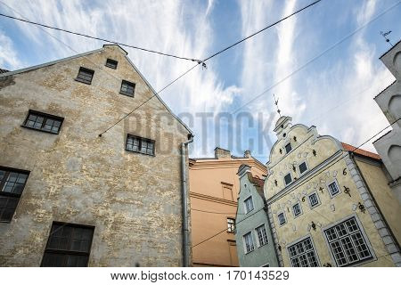Oldest dwelling houses complex called Three Brothers old town Riga Latvia