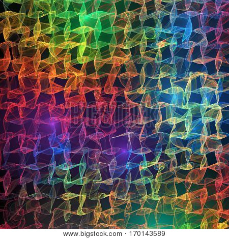 Abstract Glowing Rainbow Waves On Black Background. Psychedelic Fractal Texture. Digital Art. 3D Ren