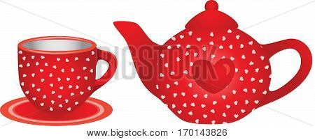 Scalable vectorial image representing a love red tea cup and teapot, isolated on white.