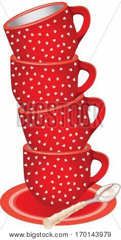 Scalable vectorial image representing a stack of red tea cups with hearts and spoon, isolated on white.