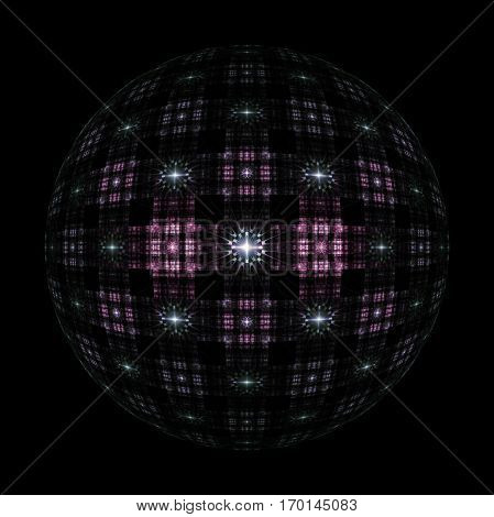 Abstract Ornamented Sphere On Black Background. Fantasy Fractal Design In Dark Pink And Grey Colors.