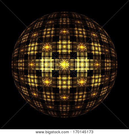 Abstract Ornamented Sphere On Black Background. Fantasy Fractal Design In Golden Colors. Psychedelic