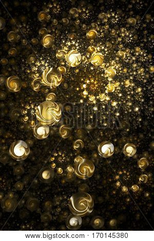 Abstract Intricate Spiral Texture In Golden Colors. Digital Fractal Art. 3D Rendering.
