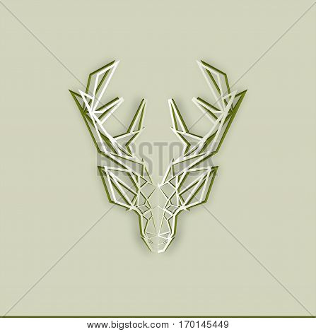 Paper cut out deer. Abstract design. Isolated on background.