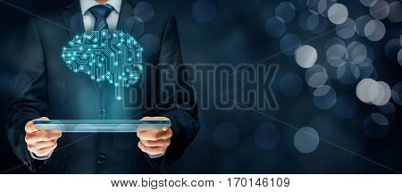 Artificial intelligence (AI), data mining, expert system software, genetic programming, machine deep learning, neural networks and another modern computer technologies concepts. Brain representing artificial intelligence with printed circuit board (PCB) d