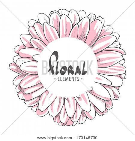 Close up gerbera with white round for your text