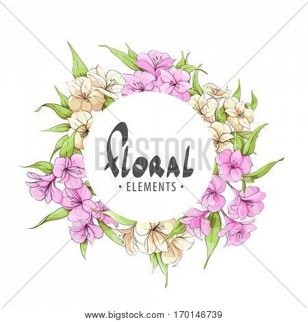 Flower frame with gentle flowers on a white background for the beloved