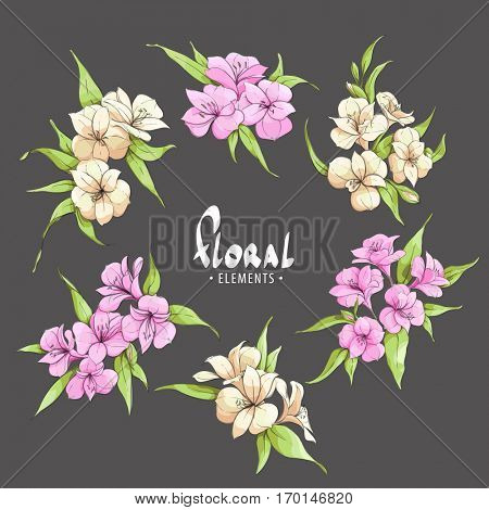 Chic pink and pale yellow flowers on a black background with place for your inscription