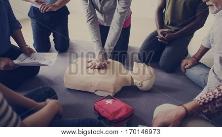 CPR First Aid Training Concept poster