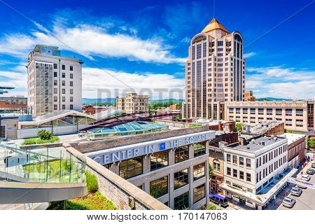 ROANOKE, VIRGINIA - JUNE 19, 2016: The skyline of downtown Roanoke from Center in the Square, an arts and cultural complex.
