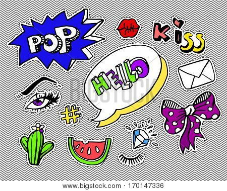 Fashion modern doodle cartoon patch badges or stickers with speach bubbles, stars, heart, lips and other elements. Set of cartoon pins in 80s 90s pop art. Vector Illustration.
