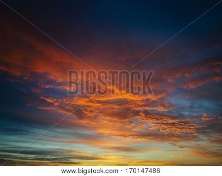 Beautiful Fiery Orange Sunset Sky