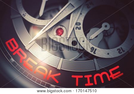 Men Watch with Break Time on the Face, Symbol of Time. Old Pocket Watch with Break Time Inscription on Face. Time and Business Concept with Glow Effect and Lens Flare. 3D Rendering.