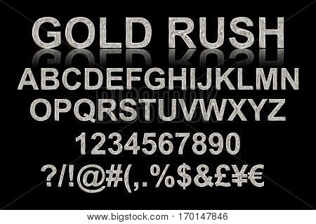 Gold Rush. Silver Alphabetic Fonts