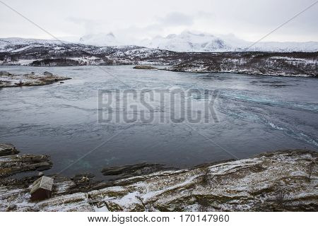 hirlpools of the maelstrom of Saltstraumen, near Bodo, Nordland Norway