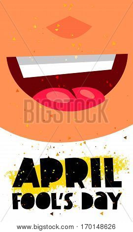 1 April Fool's Day. Vector illustration of a smiling face. Great holiday gift card.