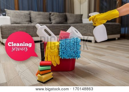 Cleaning service. Bucket with sponges, chemicals bottles and plunger. Hand in rubber glove holding a spray. Speech bubble. Paper towel. Household equipment.