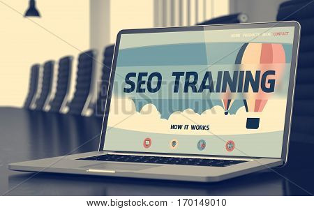 SEO Training on Landing Page of Mobile Computer Screen. Closeup View. Modern Conference Room Background. Blurred. Toned Image. 3D Render.
